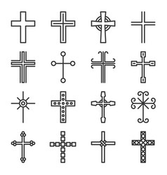 Crosses icons set on white background line style vector