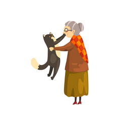 Cute granny holding black cat on her hands lonely vector