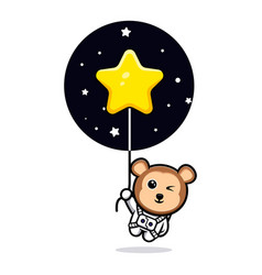 Cute monkey astronaut floating with star balloon vector