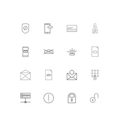 Cyber security linear thin icons set outlined vector