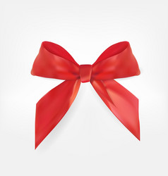 decorative red bow 3d realistic vector image