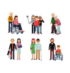 Disabled person with his helpful friends or vector