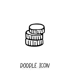 Doodle gold and silver coins icon vector image