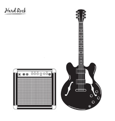 Electric guitar and combo amp hard rock vector