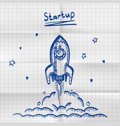 Exercise book sketch rocket startup vector