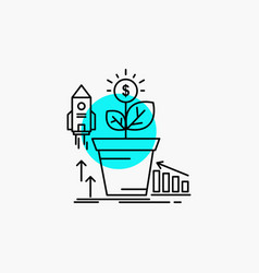 finance financial growth money profit line icon vector image