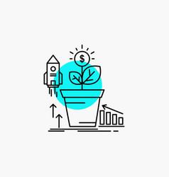 Finance financial growth money profit line icon vector