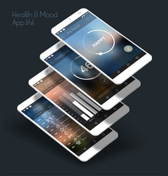 Flat design responsive ui mobile app with 3d vector