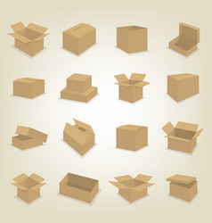 Flat icons of cardboard boxes vector