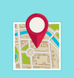Flat map with pin map pointer icon vector
