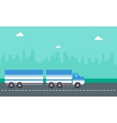 Flat of container truck landscape vector