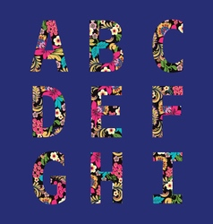 Flower font capital English Alphabet vector