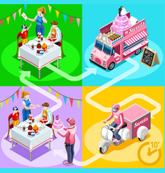 Food truck birthday cake home delivery isometric vector