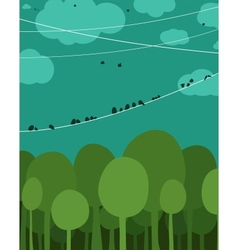 Forest and Birds Sitting on Wires Graphic Design vector image