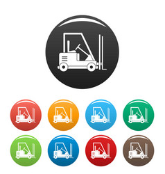 Forklift icons set color vector