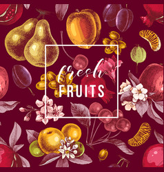 Fresh fruits emblem on seamless pattern with vector