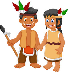 funny couple indian tribal cartoon vector image
