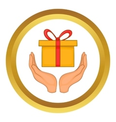 Gift box in hands icon vector