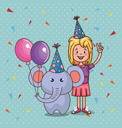 Happy birthday card with little girl vector