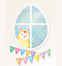 happy easter chick is looking through the window vector image
