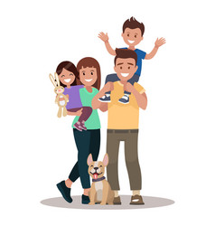 happy family of four and two pets posing vector image