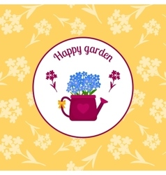 Happy garden circle sticker design vector image