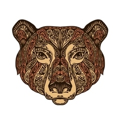 Head bear Ethnic patterns Hand drawn vector