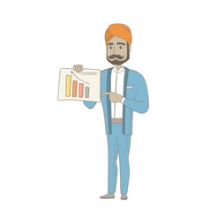 hindu businessman showing financial chart vector image