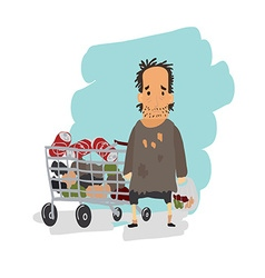 Homeless Shaggy man in dirty rags and with a bag vector image