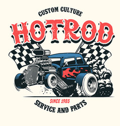 Hot rod car with big engine vector