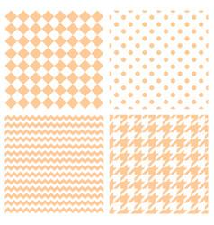 houndstooth polka dots and zig zag seamless set vector image