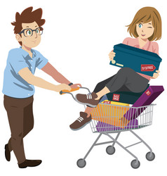 Husband and wife supermarket shopping lifestyle vector