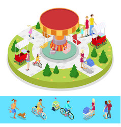 Isometric city park composition with children vector