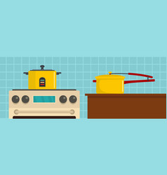 Kitchen tool banner horizontal flat style vector