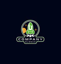 Letter u rocket logo design vector
