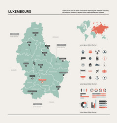 Map luxembourg country map with division vector