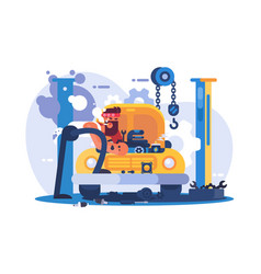 mechanic repairing car in garage vector image