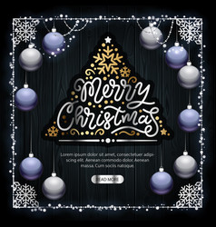Merry christmas golden decoration on dark wood vector