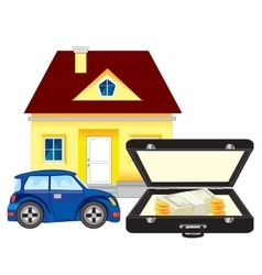 Money and car with house vector