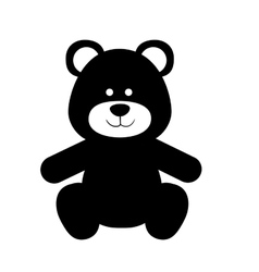 Monochrome silhouette with teddy bear vector