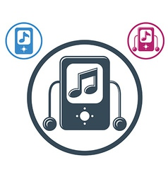 Mp3 player round icon isolated single color music vector image