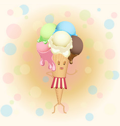 multicolor poster - humanoid waffle ice cream vector image