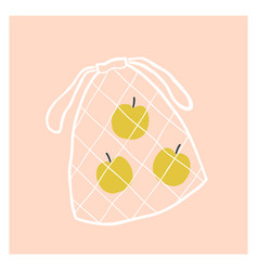 net fruit bag with apples vector image