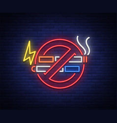 No smoking no vape neon sign bright symbol neon vector