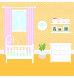 Nursery room with furniture Baby interior vector