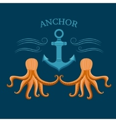 Octopus and anchor vector image