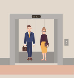 Office workers standing in open elevator business vector