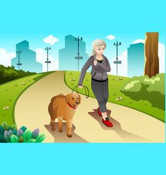 old lady exercising with her dog outdoor vector image