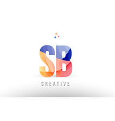 Orange blue alphabet letter sb s b logo icon vector