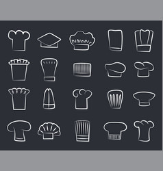outline sketches chef hats set of white chef hat vector image